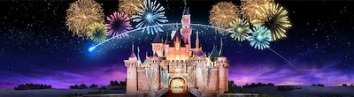 A single shooting star flies by as fireworks light up a starry night sky above Sleeping Beauty Castle