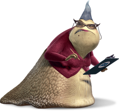 Roz from Monsters Incorporated scowls as she holds a pencil and a clipboard