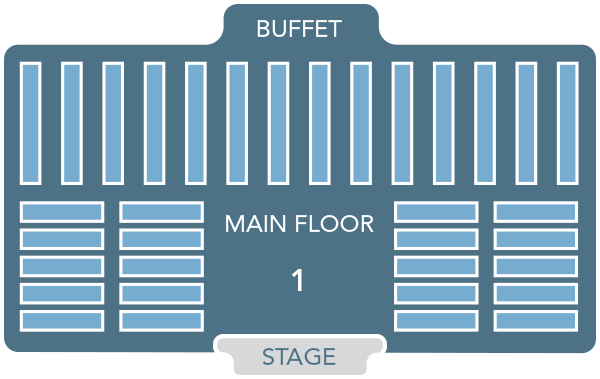 A schematic featuring horizontal and vertical bars defines seating options at Mickey's Backyard BBQ
