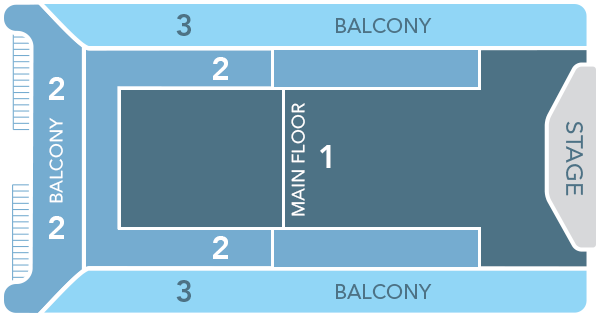 A rectangular Seating Chart displaying Main Floor's Category 1 seating that faces the stage and spans the length of the auditorium, with Main Floor Category 2 in the rear facing center, left and right of the stage; while Balcony Seating is divided into Category 2 in the rear and Category 3 that flanks the stage, occupying the entire length of the auditorium