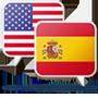 Icono de bandera estadounidense y bandera española