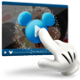 An icon of Mickey's gloved finger tapping the start arrow of an online video