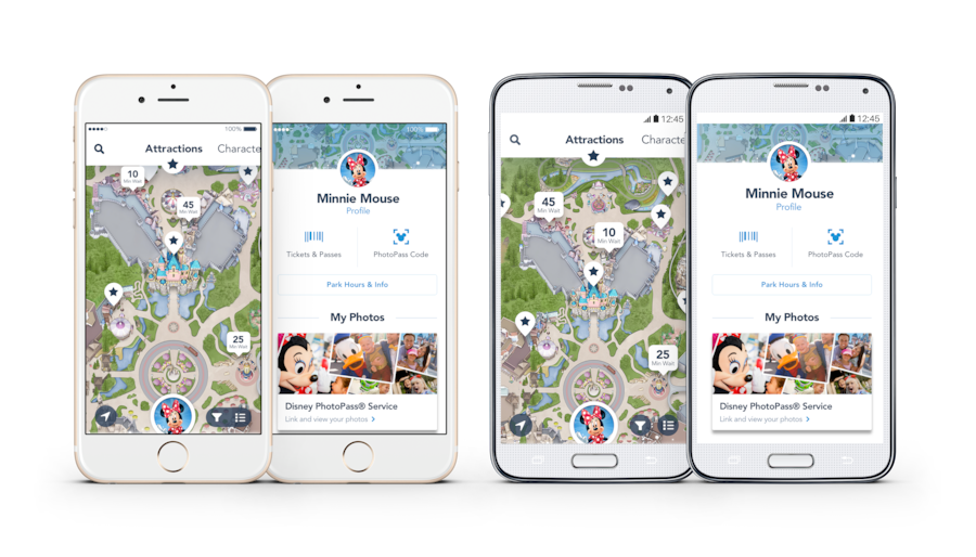Screenshots of Disneyland App