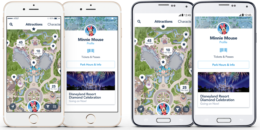 Screenshots of Disneyland App